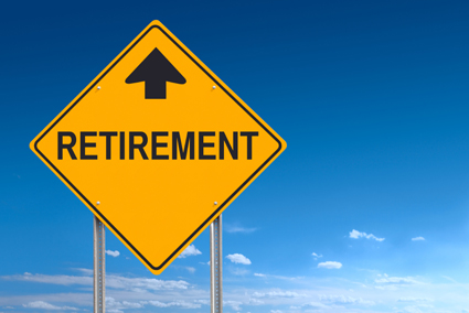 Conceptual road sign indicating upcoming retirement ahead - with clipping path