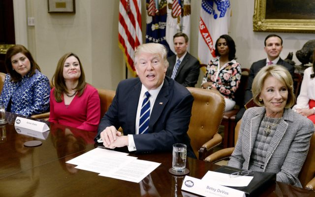 "U.S. Secretary of Education Betsy DeVos, right, meeting with President Donald Trump earlier this year. The Education Department is working to dispel concerns after announcing that it would rescind 72 special education guidance documents under a Trump executive order requiring the federal government ""to alleviate unnecessary regulatory burdens."" (Olivier Douliery/Abaca Press/TNS)"